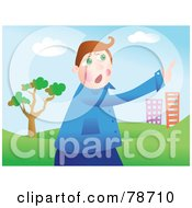 Royalty Free RF Clipart Illustration Of A Stressed Man Pointing Towards A City