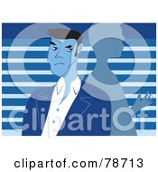 Royalty Free RF Clipart Illustration Of A Grumpy Man Looking Over His Shoulder