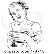 Royalty Free RF Clipart Illustration Of Black And White Formal Girl Drinking