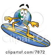 Clipart Picture Of A World Earth Globe Mascot Cartoon Character Surfing On A Blue And Yellow Surfboard by Toons4Biz