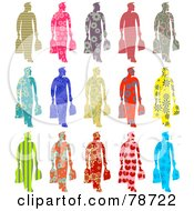 Royalty Free RF Clipart Illustration Of A Digital Collage Of Fifteen Patterned Shoppers by Prawny