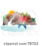 Royalty Free RF Clipart Illustration Of A Man Wading In A River And Panning For Gold by Prawny