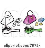 Royalty Free RF Clipart Illustration Of A Digital Collage Of A Purse With Coins And A Brush And Outline