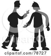 Royalty Free RF Clipart Illustration Of A Black Silhouette Of Two Men Arguing