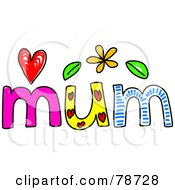 Royalty Free RF Clipart Illustration Of A Colorful Mum Word
