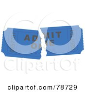 Royalty Free RF Clipart Illustration Of A Torn Blue Admit One Ticket Stub by Prawny