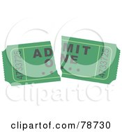 Royalty Free RF Clipart Illustration Of A Torn Green Admit One Ticket Stub by Prawny