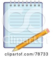 Royalty Free RF Clipart Illustration Of A Yellow Pencil On A Blue Notepad