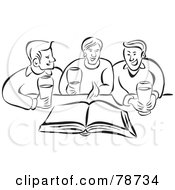 Royalty Free RF Clipart Illustration Of Three Black And White Men Discussing A Book With Beverages by Prawny