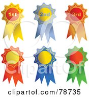 Royalty Free RF Clipart Illustration Of A Digital Collage Of Three Shiny Rosette Ribbons by Prawny