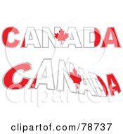 Royalty Free RF Clipart Illustration Of A Digital Collage Of Two Canada Words With The Maple Leaf