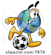 Clipart Picture Of A World Earth Globe Mascot Cartoon Character Kicking A Soccer Ball by Toons4Biz
