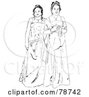Royalty Free RF Clipart Illustration Of Black And White Prom Girls In Gowns by Prawny