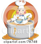Royalty Free RF Clipart Illustration Of A Greedy Chef Eating Food Inside His Pot by Prawny
