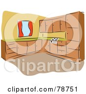 Royalty Free RF Clipart Illustration Of A Kitchen With Wooden Cabinets And Orange Walls by Prawny