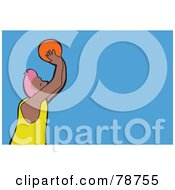 Royalty Free RF Clipart Illustration Of A Basketballer Shooting A Ball Over Blue by Prawny