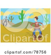 Royalty Free RF Clipart Illustration Of Two Western Cowboys Ready To Draw In A Desert