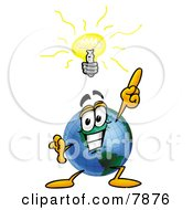 Clipart Picture Of A World Earth Globe Mascot Cartoon Character With A Bright Idea by Toons4Biz