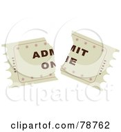 Royalty Free RF Clipart Illustration Of A Torn Beige Admit One Ticket Stub by Prawny