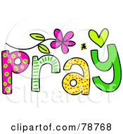 Royalty Free RF Clipart Illustration Of A Colorful Pray Word by Prawny