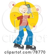 Royalty Free RF Clipart Illustration Of A Chatty Happy Guy Using A Cell Phone by Prawny