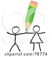 Royalty Free RF Clipart Illustration Of A Green Pencil Drawing A Couple