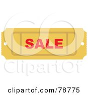Royalty Free RF Clipart Illustration Of A Yellow Sale Ticket Stub by Prawny