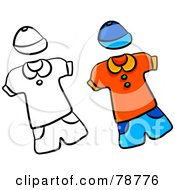 Royalty Free RF Clipart Illustration Of A Digital Collage Of Colored And Outlined Childrens Outfits by Prawny