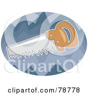 Royalty Free RF Clipart Illustration Of A Hand Saw Over A Blue Oval