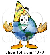 Clipart Picture Of A World Earth Globe Mascot Cartoon Character Wearing A Birthday Party Hat by Toons4Biz