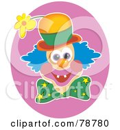 Royalty Free RF Clipart Illustration Of A Hyper Clown Face With A Flower Hat