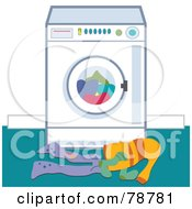 Royalty Free RF Clipart Illustration Of Dirty Laundry In Front Of A Washing Machine by Prawny