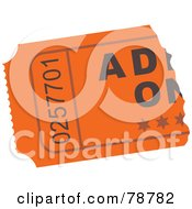 Royalty Free RF Clipart Illustration Of A Ripped Orange Admit One Ticket Stub