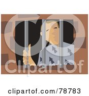 Royalty Free RF Clipart Illustration Of A Jailed Prisoner Looking Around His Bars