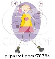 Royalty Free RF Clipart Illustration Of A Happy Stick Woman Using A Cell Phone by Prawny