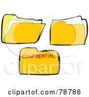Royalty Free RF Clipart Illustration Of A Digital Collage Of Three Yellow Confidential Folders by Prawny
