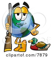 Clipart Picture Of A World Earth Globe Mascot Cartoon Character Duck Hunting Standing With A Rifle And Duck