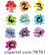 Royalty Free RF Clipart Illustration Of A Digital Collage Of Colorful Splattered Funky Numbers
