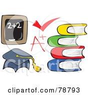 Digital Collage Of A Chalk Board Check Mark A Plus Books And Graduation Cap