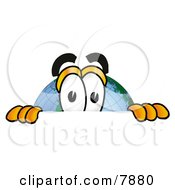 Clipart Picture Of A World Earth Globe Mascot Cartoon Character Peeking Over A Surface by Toons4Biz