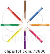 Royalty Free RF Clipart Illustration Of A Colorful Circle Of Pencils by Prawny