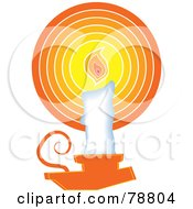 Royalty Free RF Clipart Illustration Of A White Wax Candle In An Orange Holder by Prawny
