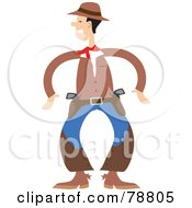 Royalty Free RF Clipart Illustration Of A Western Cowboy Ready To Draw His Two Guns