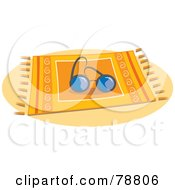 Royalty Free RF Clipart Illustration Of A Pair Of Sunglasses Resting On A Beach Blanket by Prawny