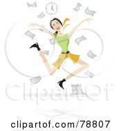 Royalty Free RF Clipart Illustration Of An Excited Woman Tossing Paperwork