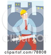 Royalty Free RF Clipart Illustration Of A Male Architect Carrying Plans In A City