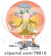 Royalty Free RF Clipart Illustration Of A Granny Woman Holding A Cell Phone by Prawny
