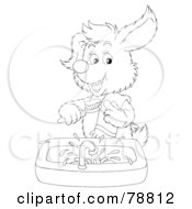 Royalty Free RF Clipart Illustration Of A Black And White Outline Of A Dog Smiling And Brushing His Teeth Over A Sink by Alex Bannykh