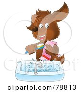 Royalty Free RF Clipart Illustration Of A Brown Dog Smiling And Brushing His Teeth Over A Sink by Alex Bannykh