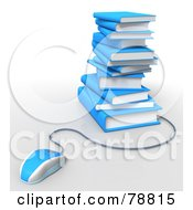 Royalty Free RF Clipart Illustration Of A 3d Blue Computer Mouse Connected To A Stack Of Blue Text Books by Tonis Pan